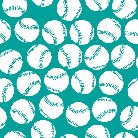 A lot of white baseball icons on green background seamless pattern
