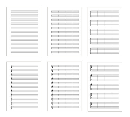 Set of six types music note staves, a4 blank pages isolated on white Illustration
