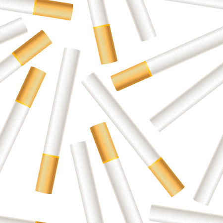 A lot of realistic cigarettes on white background seamless pattern