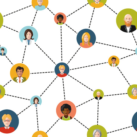 social gathering: Flat people avatars in social network on white background, seamless pattern