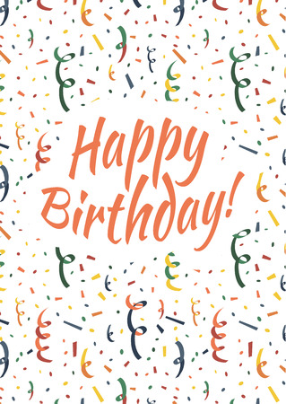 party popper: Happy birthday card cover with exploding party popper, colorful serpentine and confetti on background