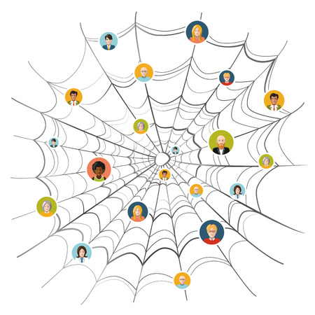 caught: People stuck in complicated spider web, flat illustration isolated on white