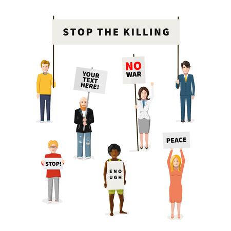 activism: Conjunto de siete manifestantes personas planos con diferentes tipos de banners aislados en blanco