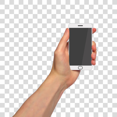 Photorealistic vector hand with smartphone on transparent background