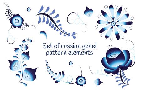 porcelain flower: Set of russian gzhel pattern elements