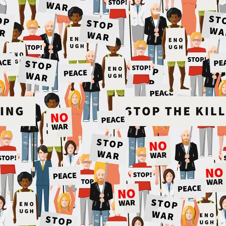 anti war: Anti war demonstration, crowd of flat people, seamless pattern Illustration