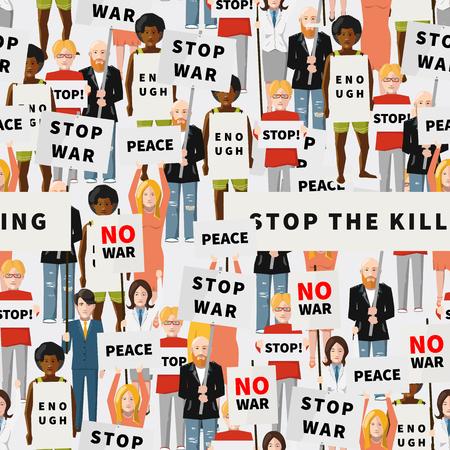demonstration: Anti war demonstration, crowd of flat people, seamless pattern Illustration