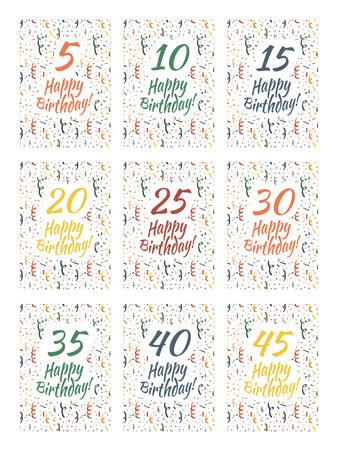誕生日おめでとうカードのセットが周年記念カバーします。 写真素材 - 47854664
