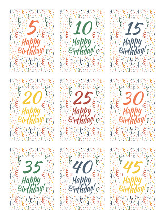 Set of happy birthday card covers for anniversary