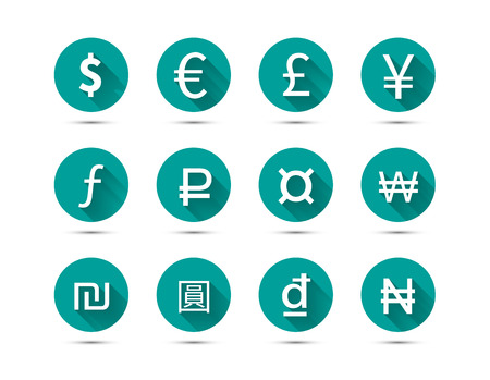 Set of main currency signs flat icons with long shadow on green background isolated on white