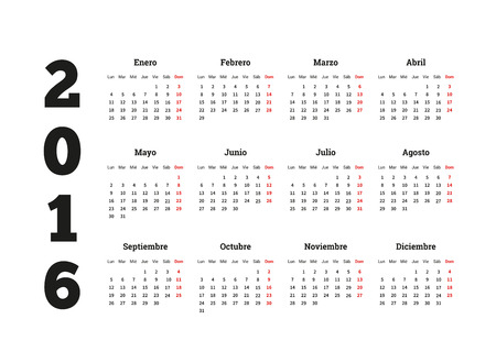 calendrier: Calendar on 2016 year on Spanish language, A4 sheet size