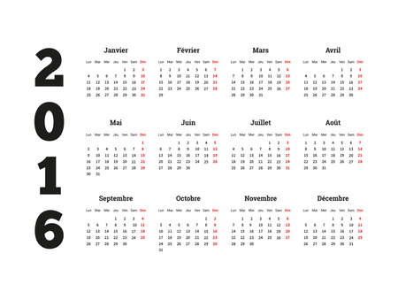 calendrier: Calendar on 2016 year on French language, A4 sheet size Illustration