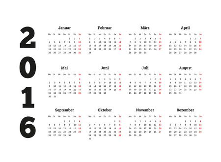 calendrier: Calendar on 2016 year on german language, A4 sheet size Illustration