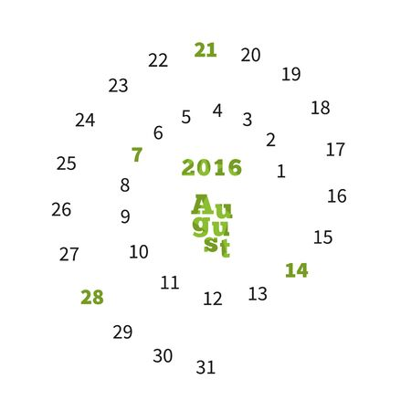 Creative calendar on August 2016 with dates on spiral Illustration