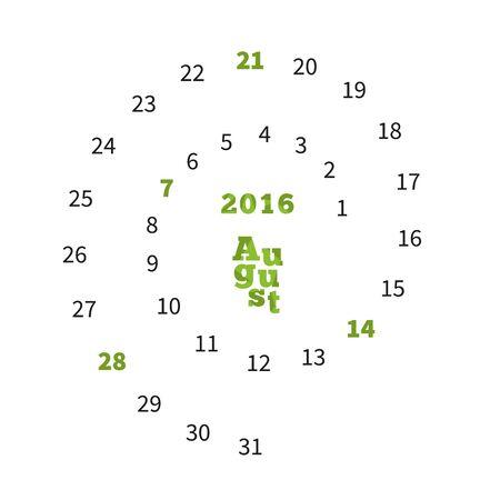 calandar: Creative calendar on August 2016 with dates on spiral Illustration