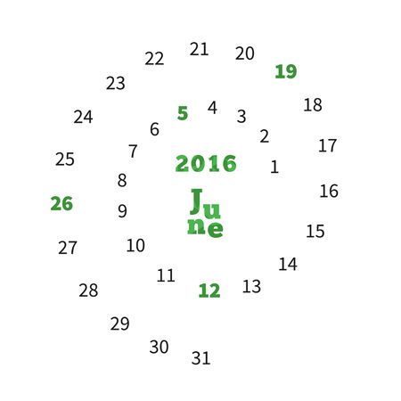 Creative calendar on June 2016 with dates on spiral