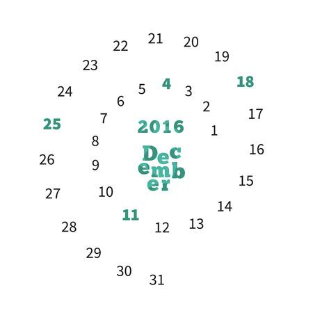 calandar: Creative calendar on December 2016 with dates on spiral