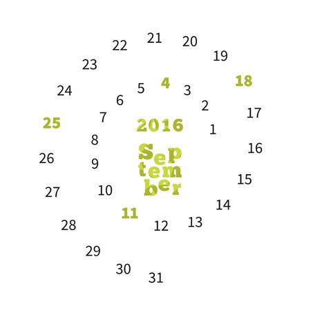 agenda year planner: Creative calendar on September 2016 with dates on spiral