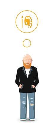 male: Flat cartoon character, artist with profession icon Illustration