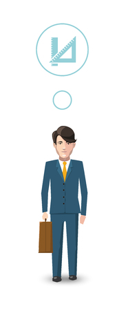 mathematician: Flat cartoon character, mathematician with profession icon Illustration
