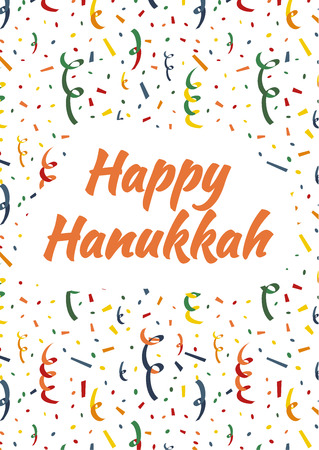 sumbol: Happy Hanukkah card cover with exploding party popper, colorful serpentine and confetti on background