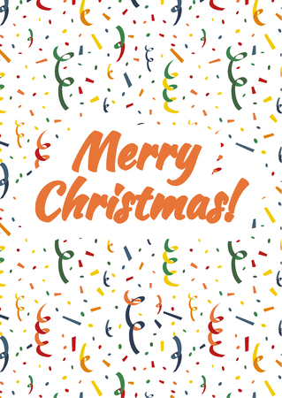 Merry Christmas card cover with exploding party popper, colorful serpentine and confetti on background Illustration