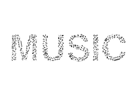 key words art: Word music made of music signs isolated on white Illustration