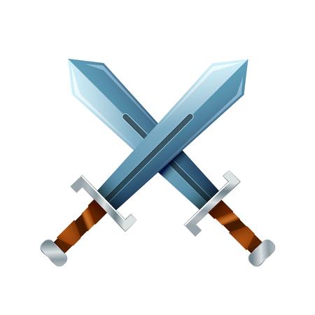 excalibur: Crossed swords, cartoon icon isolated on white