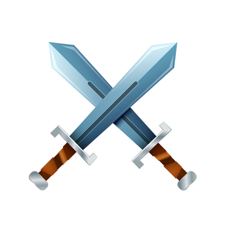 Crossed swords, cartoon icon isolated on white