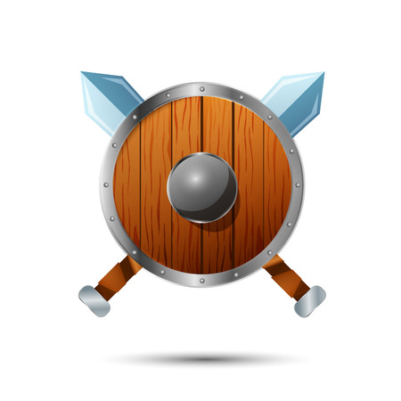 Round wooden shield with crossed swords cartoon icon