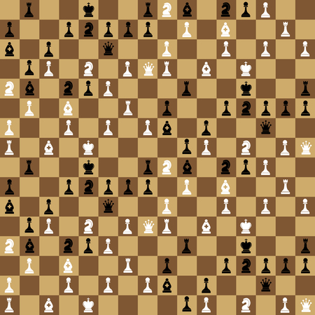 chessboard: A lot of chess icons on chessboard, seamless pattern