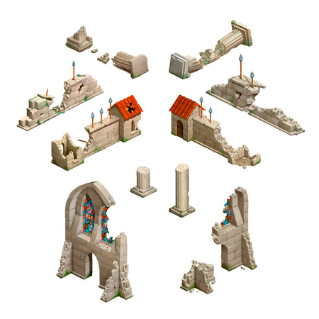 Big set of medieval buildings, isometric game art isolated on white