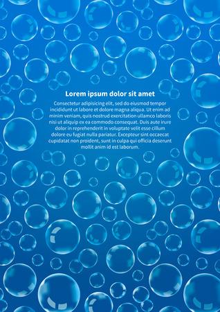 Un sacco di bolle di sapone su blu, sfondo astratto Vertikal formato A4