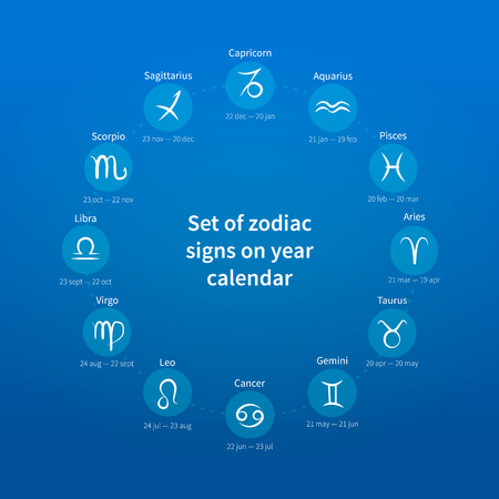 archer fish: Set of zodiac signs on year calendar on blue background Illustration