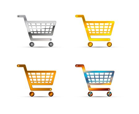 Set of shopping carts icons made of silver, gold and bronze metal on white Ilustração