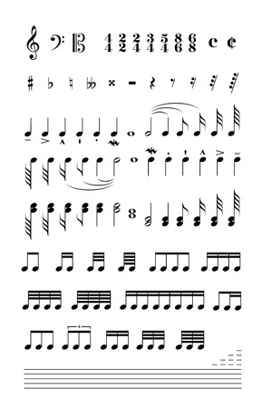 transcription: Set of music signs and note stave isolated on white Illustration