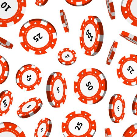 wagers: Red casino chips in air isolated on white seamless pattern Illustration