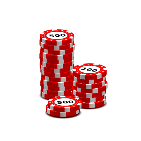 gambling chips: Stack of red gambling chips isolated on white
