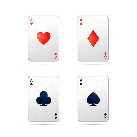 aces: Set of four aces playing cards isolated on white