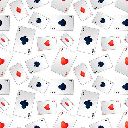 Poker aces isolated on white, seamless pattern