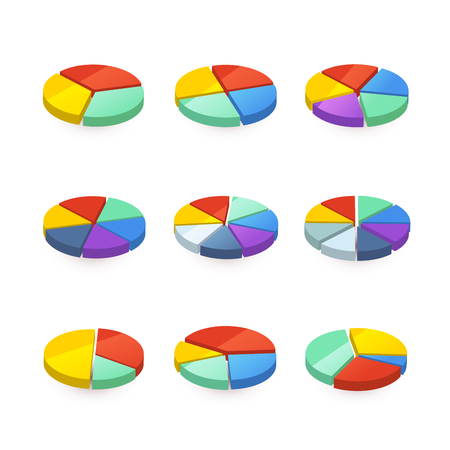 pie diagrams: Set of colorful pie diagrams isolated on white