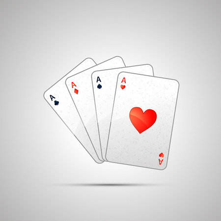 aces: Winning poker hand of four aces on white Illustration