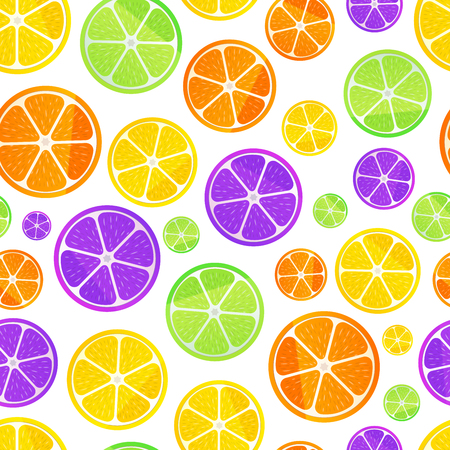Juicy fruit slices isolated on white, seamless pattern