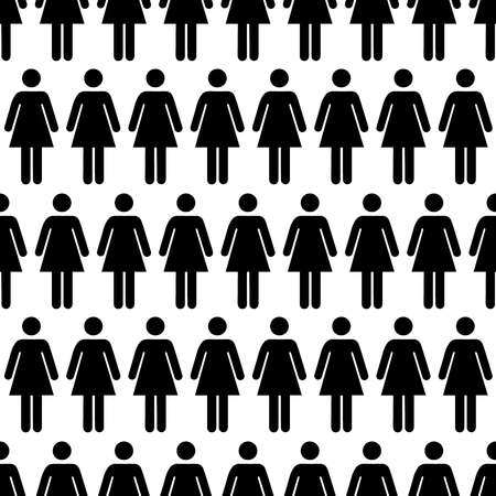 crowd happy people: Crowd of black simple women icons, seamless pattern