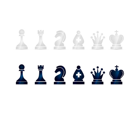 castle silhouette: Set of glossy black and white chess icons isolated on white