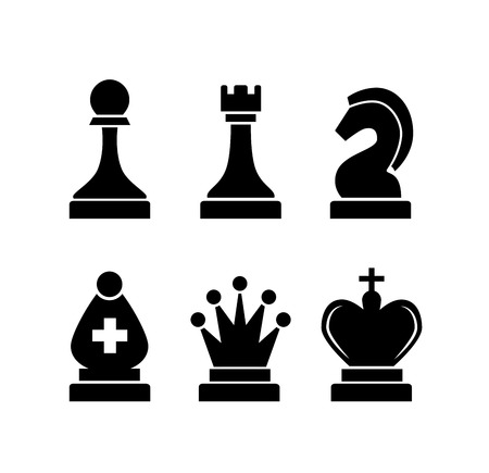 castle silhouette: Set of black simple chess icons isolated on white