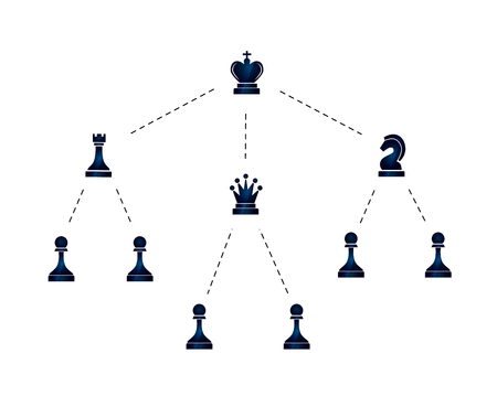 jerarquia: Hierarchy of company illustration with chess icons isolated on white