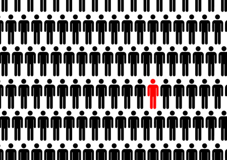 One man in crowd. Think different concept illustration.
