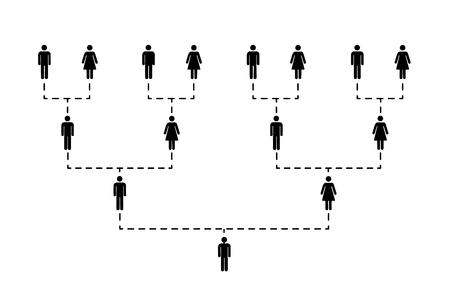 Stamboom van verschillende generaties op wit wordt geïsoleerd