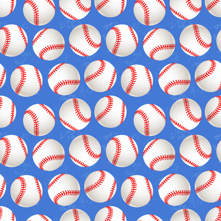 A lot of baseball balls on blue background, seamless pattern